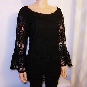 #800 Alfani Plus Size Lace Bell-Sleeve Top 2x